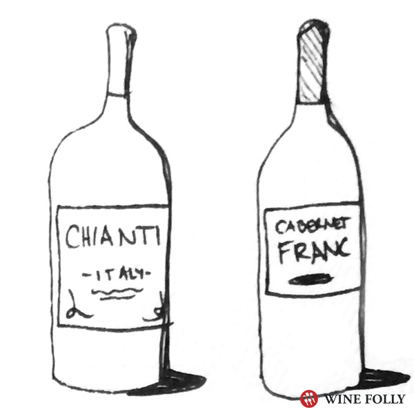 bottle illustration chianti cabernet franc - Wine Folly