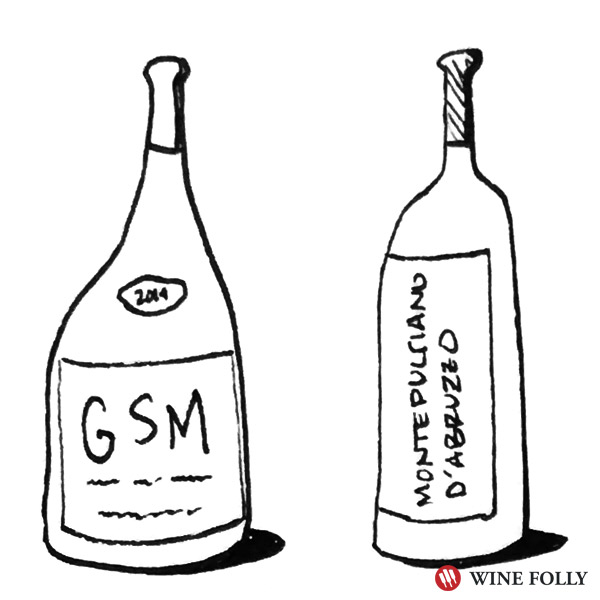 Bottle illustration GSM Montepulciano wine folly