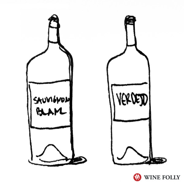 Bottle Illustration - Zesty White wines like verdejo go well with salad pizza