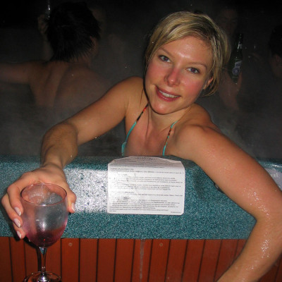 Wine in a hot tub is not a good idea, but once in a while its not a bad thing