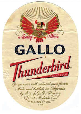 Thunderbird fortified white wine with 20% ABV
