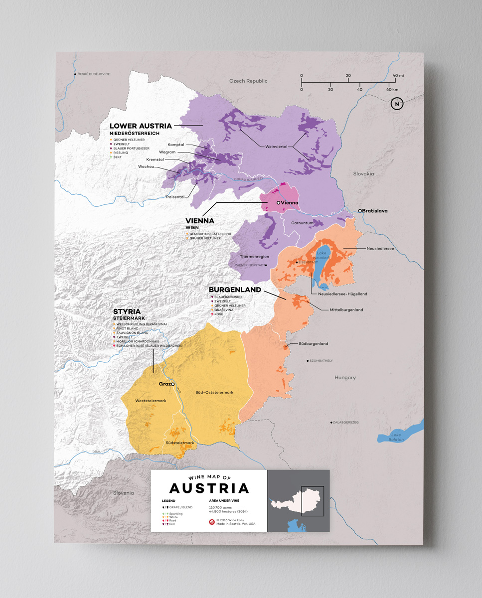 12x16 Austria wine map by Wine Folly