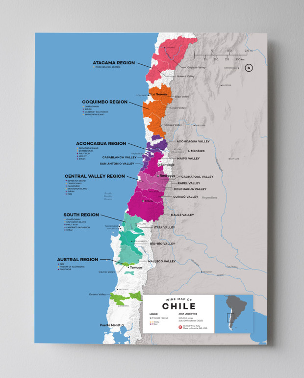 12x16 Chile Wine Map by Wine Folly