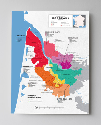Bordeaux Wine Map Poster
