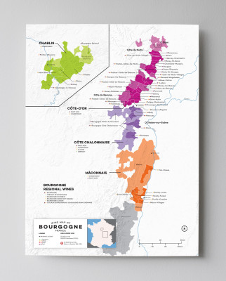 12x16 France Burgundy (Bourgogne)  wine map by Wine Folly