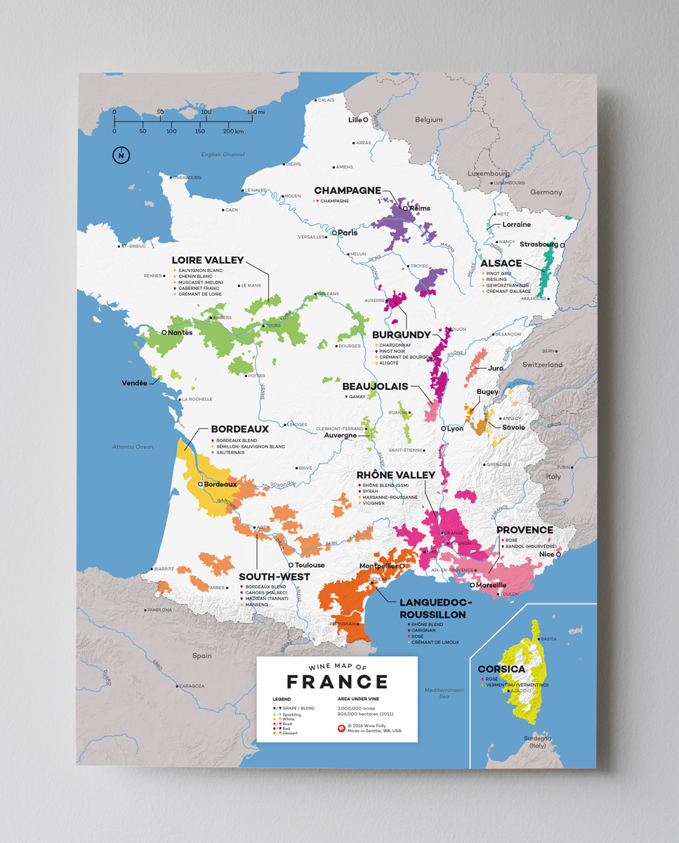 12x16 France wine map by Wine Folly