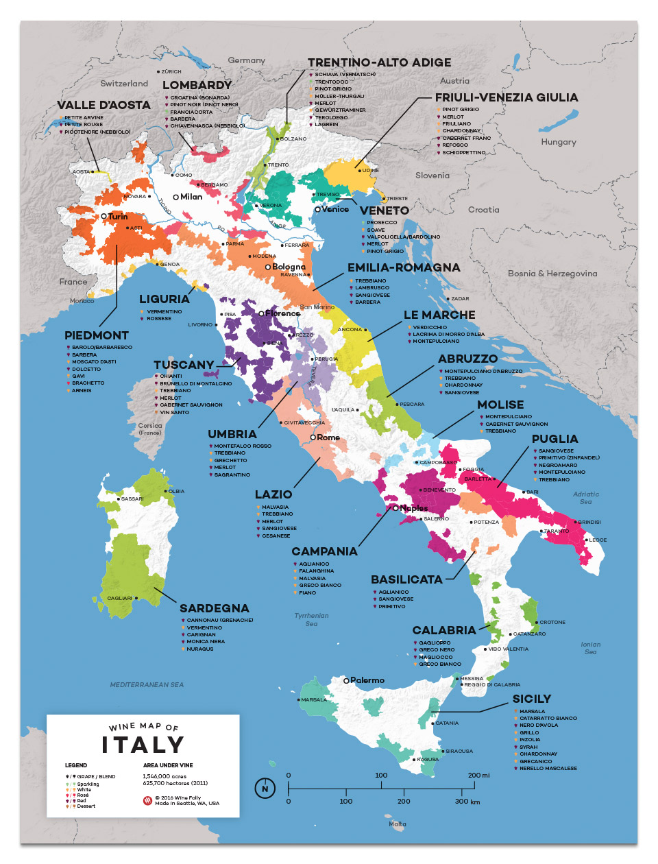 Italian Wine Map by Wine Folly