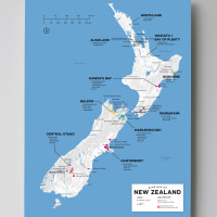 12x16 New Zealand wine map by Wine Folly