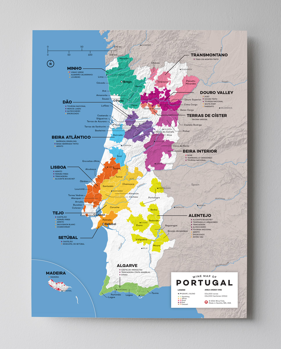 12x16 Portugal wine map by Wine Folly