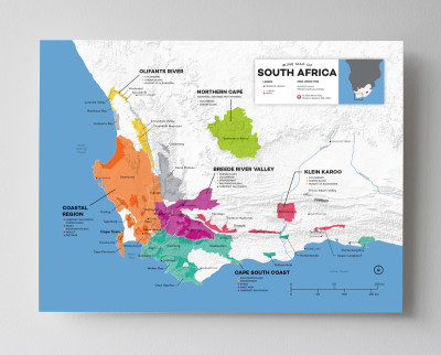 12x16 South Africa wine map by Wine Folly