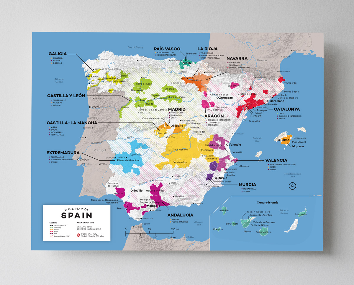 12x16 Spain wine map by Wine Folly