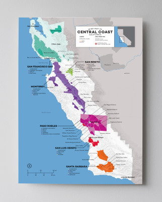 12x16 USA California Central Coast (Santa Barbara, Paso Robles, etc) wine map by Wine Folly