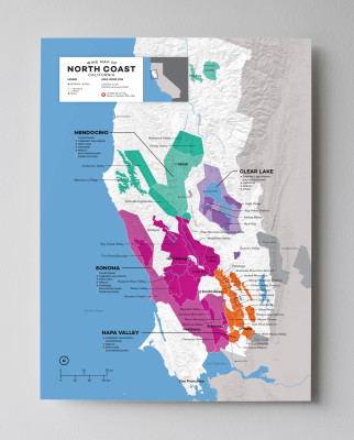 12x16 USA California North Coast (Napa, Sonoma, etc) wine map by Wine Folly