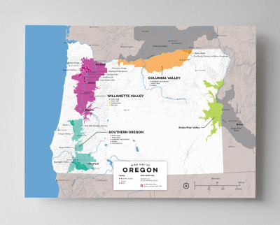 12x16 USA Oregon wine map by Wine Folly