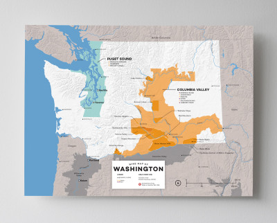 12x16 USA Washington wine map by Wine Folly
