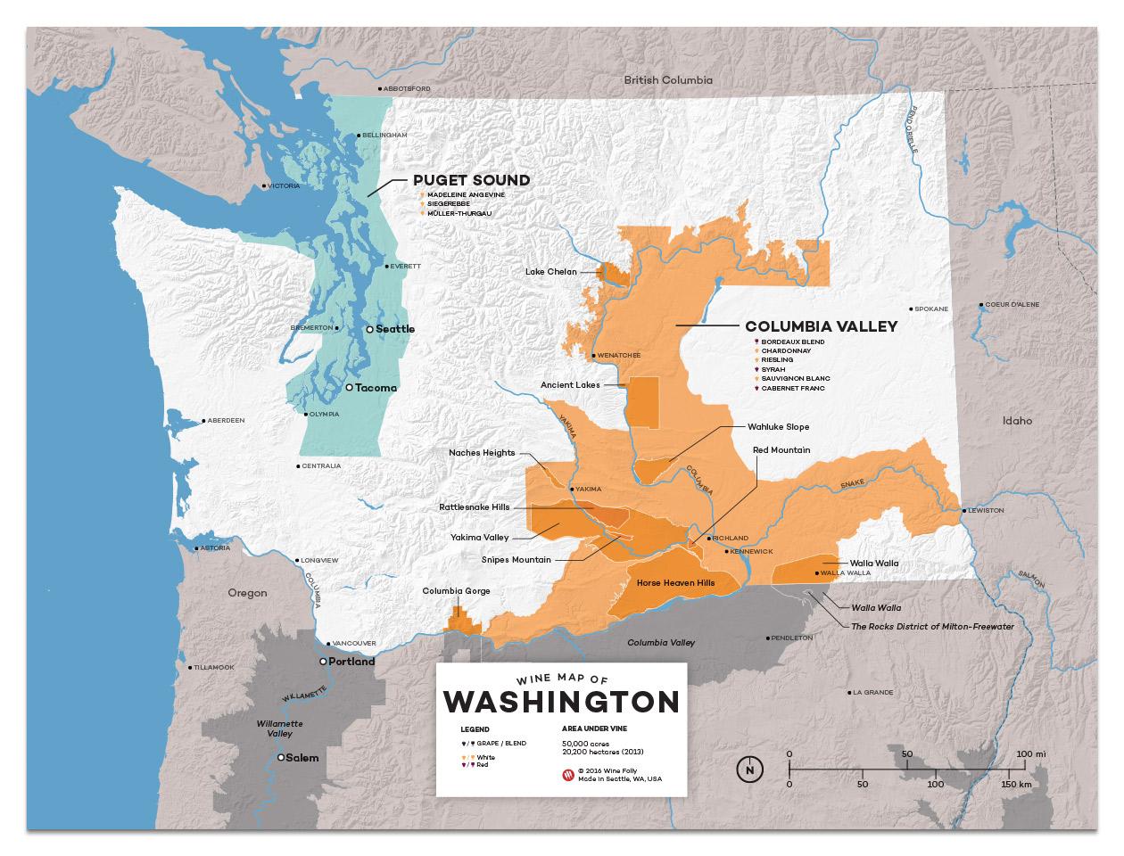 Wine Regions of Washington Regional Map by Wine Folly - 12x16