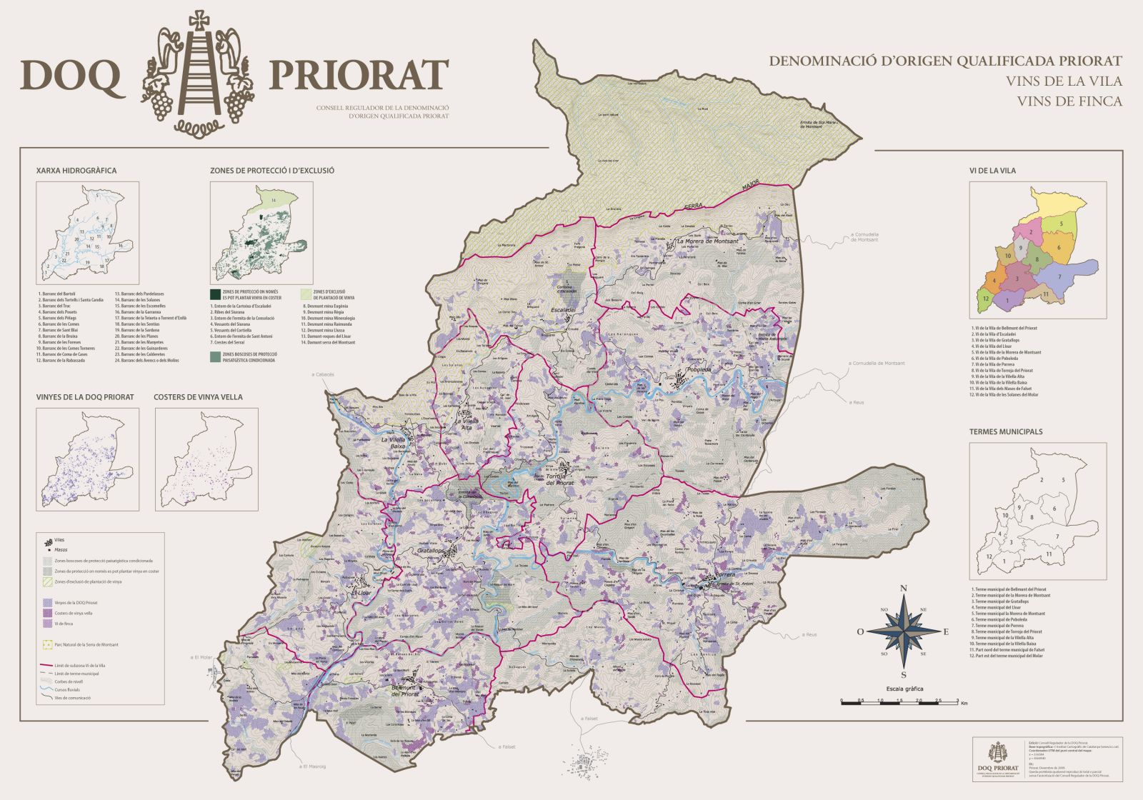 Priorat DOP wine region Map courtesy of DOQPriorat.org