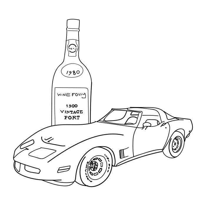 1980s corvette illustration with a 1980 bottle of Port wine