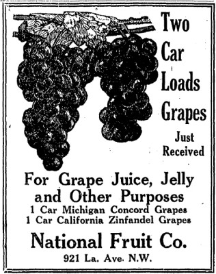 an wine grape advertisement in the washington post prohibition
