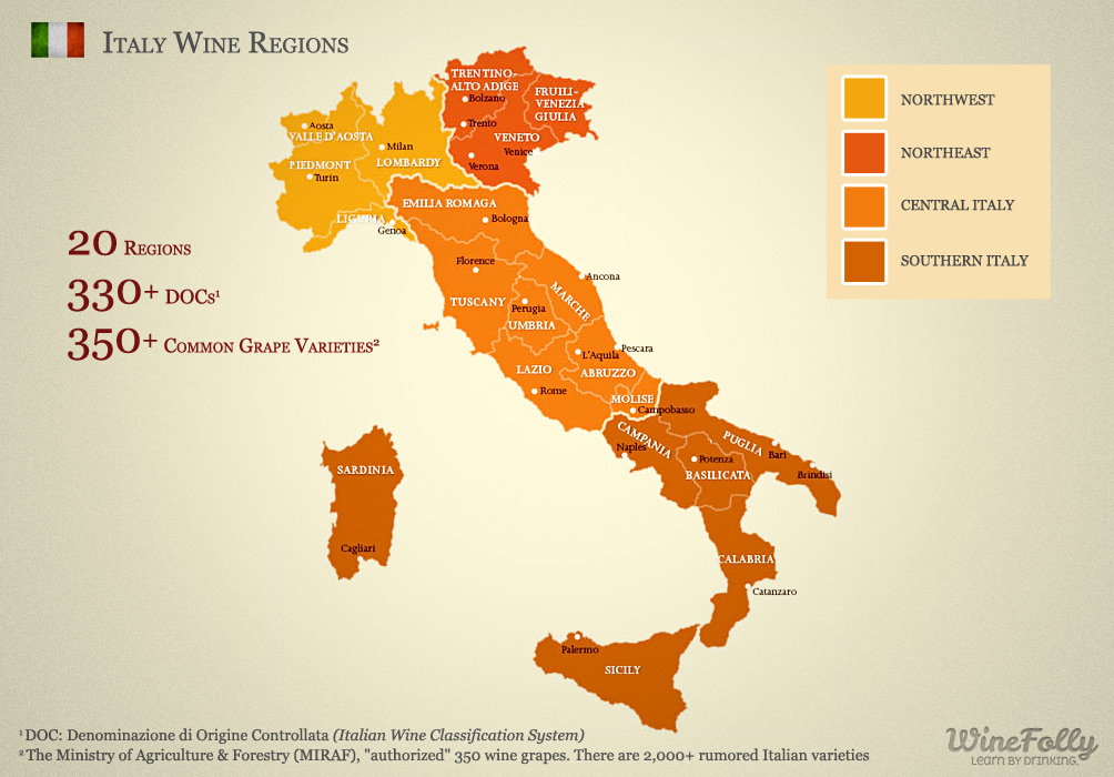 20 Italian Wine Regions - Map