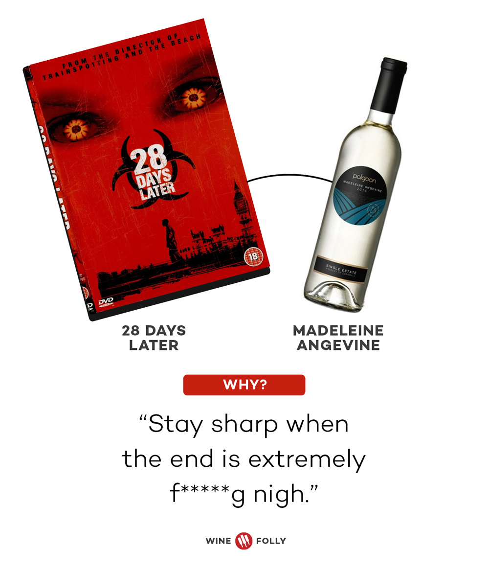 28 Days Later and Madeleine Angevine Horror Movie Wine Pairing