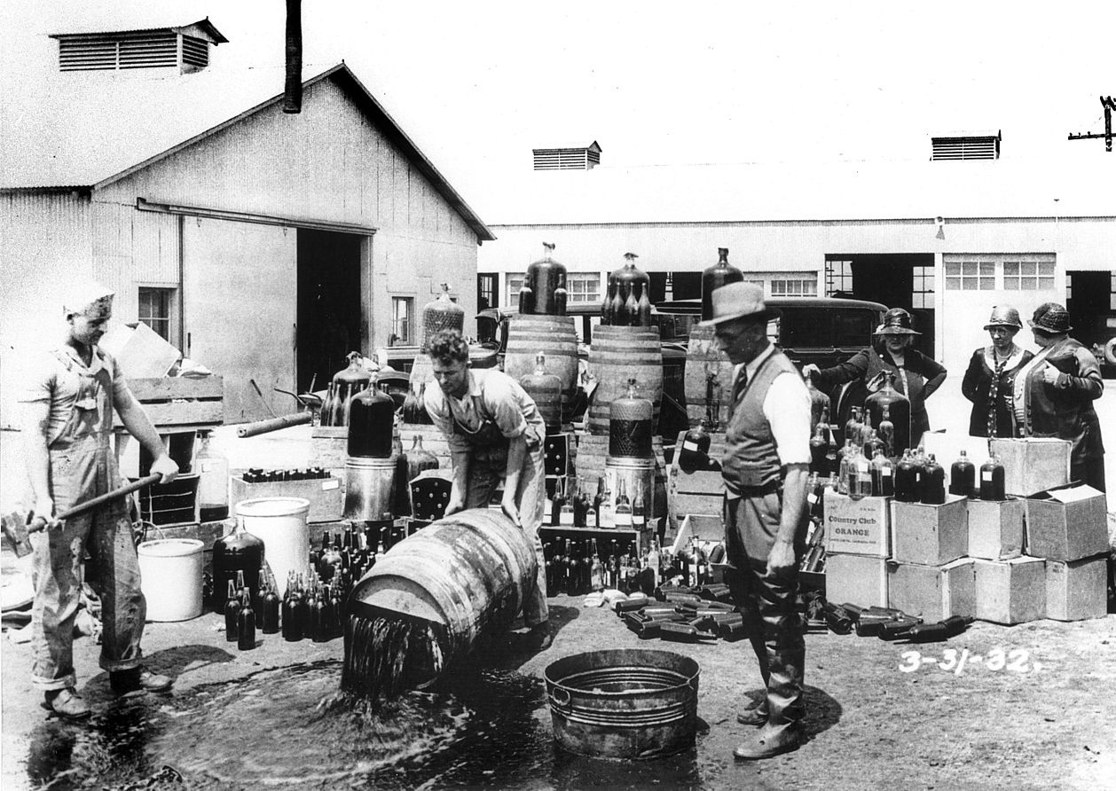 Dumping Wine during prohibition in Orange County