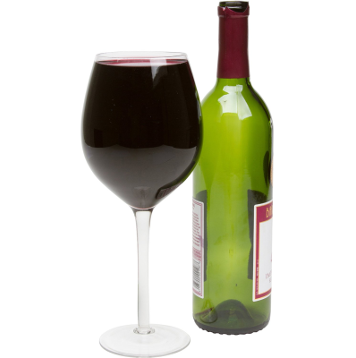 Large Wine Glass Holds a Full Bottle