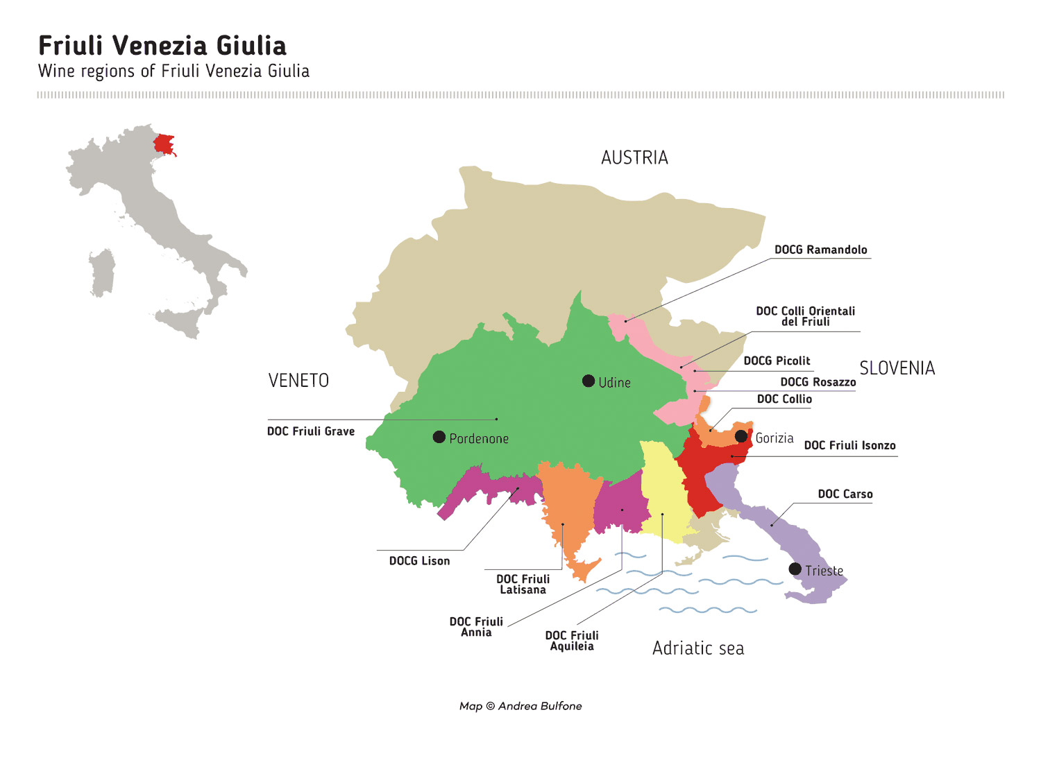 Friuli Venezia Giulia Wine Region Map by Andrea Bulfone