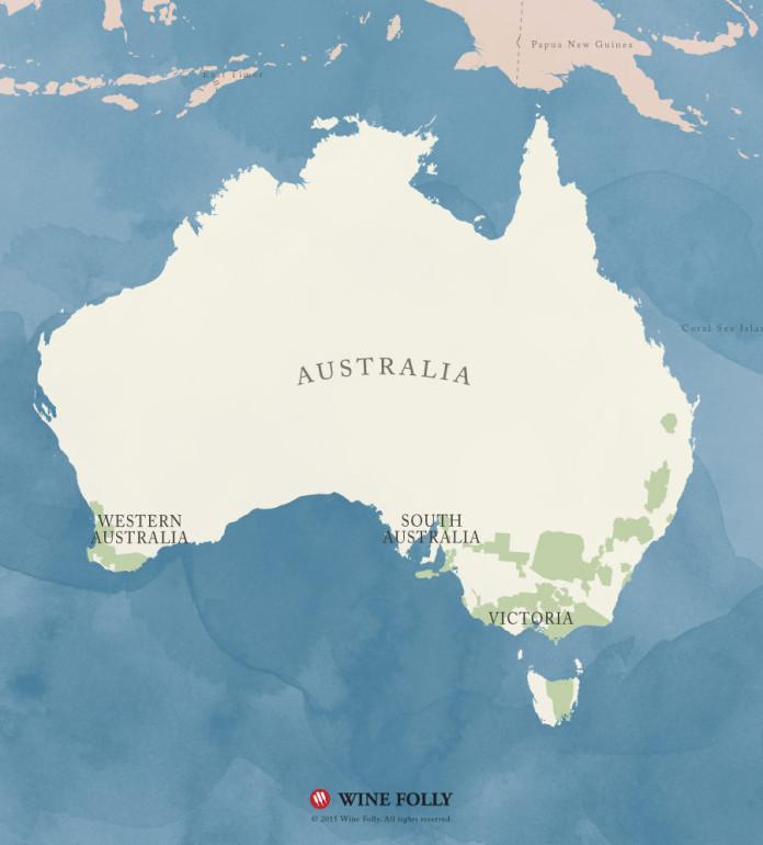 Australia Sauvignon Blanc regional wine map by Wine Folly