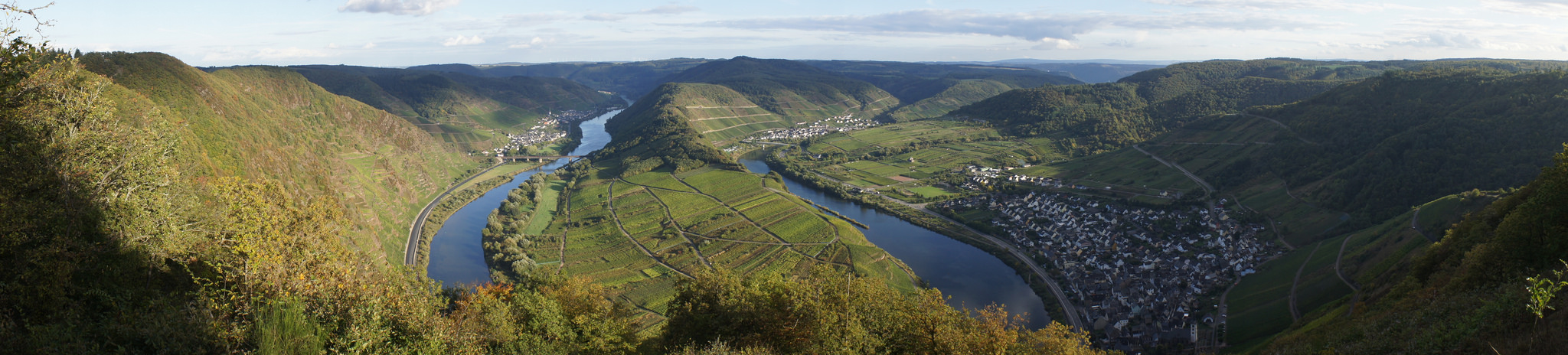 The view over Bremm in the Mosel.  You can see Calmont vineyard (the steepest vineyard in Europe) is on the left side of the image.