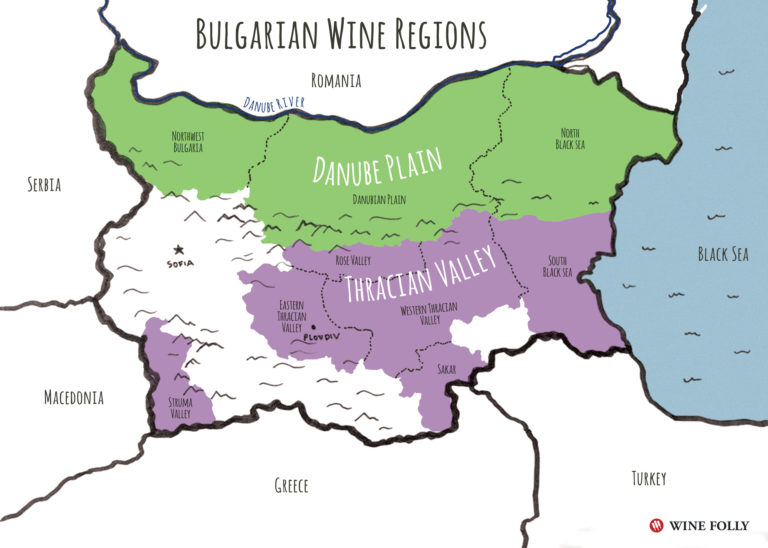 Bulgaria Wine Regions Map Illustration by Wine Folly