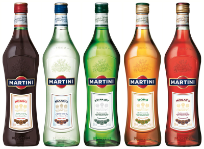 Martini and Rossi 5 styles of vermouth
