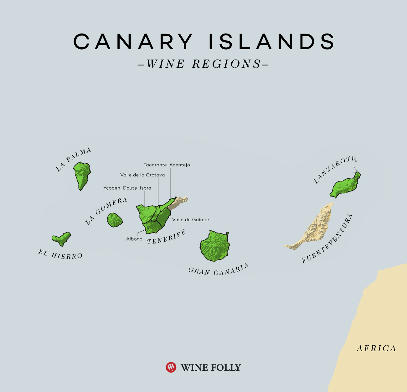 Canary Islands Wine map by Wine Folly