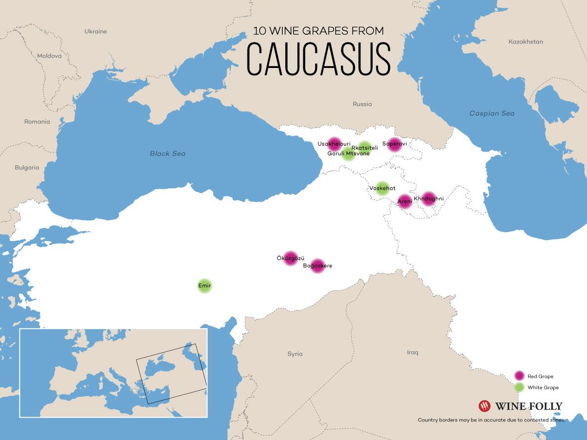 Wine Map of Caucasus: Turkey, Armenia, Georgia, Azerbaijan
