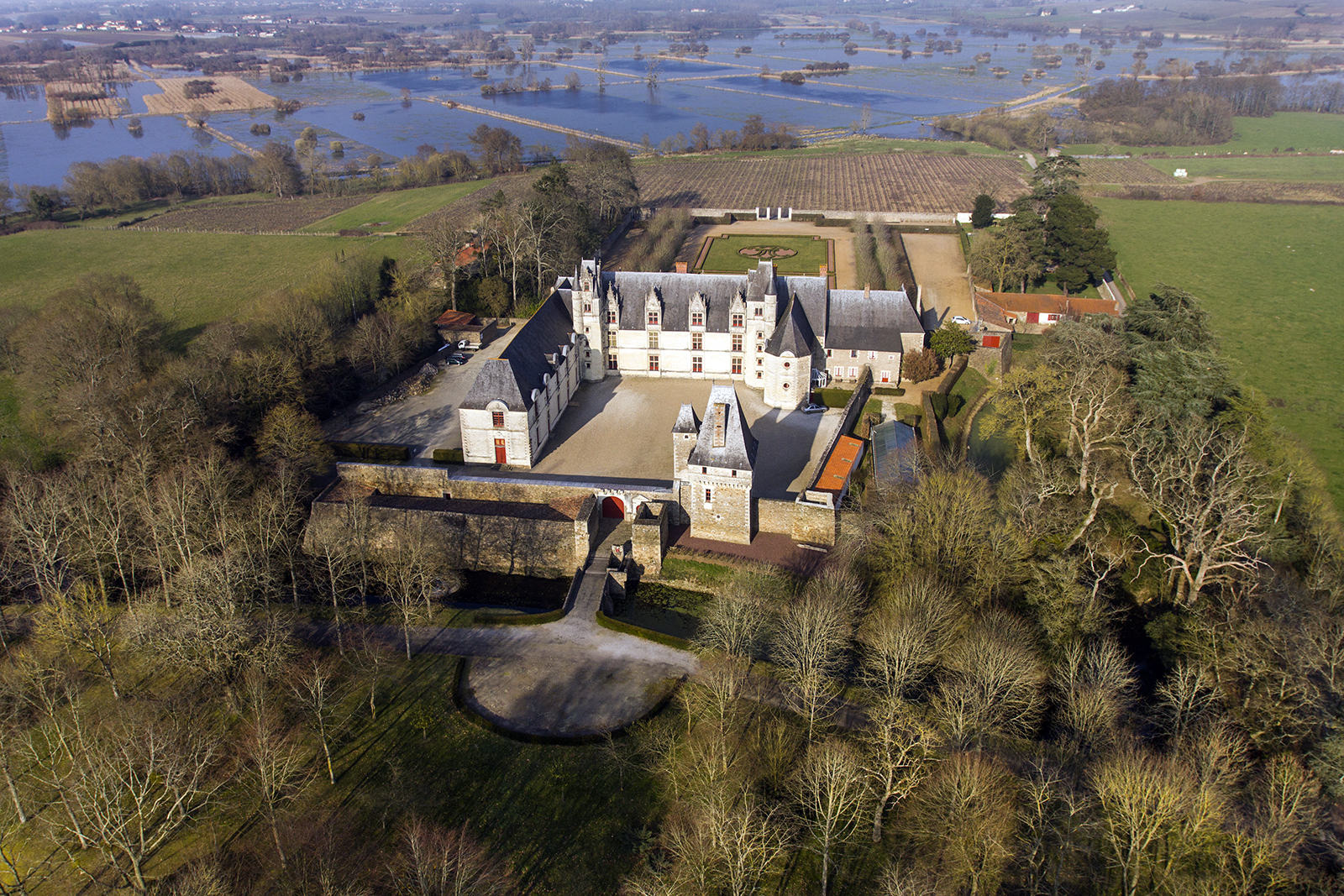 Aerial Photo of Chateau de Goulaine vineyards in Loire Valley