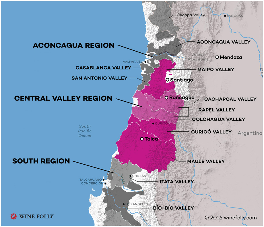 Chile Central Valley Region Wine Map Excerpt created by Wine Folly