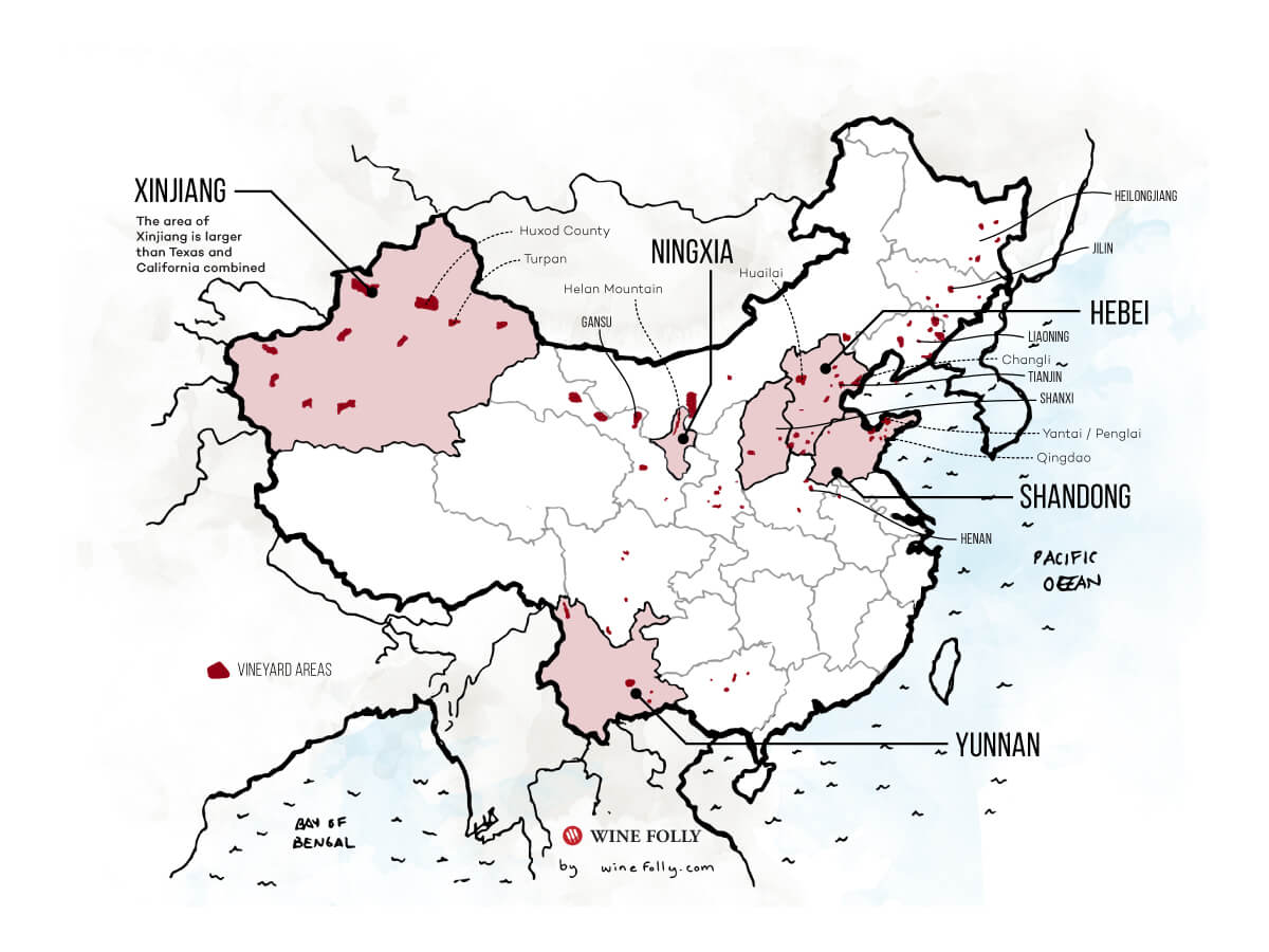 Chinese Regional Wine Map Outlines (corrected) - Wine Folly 2019