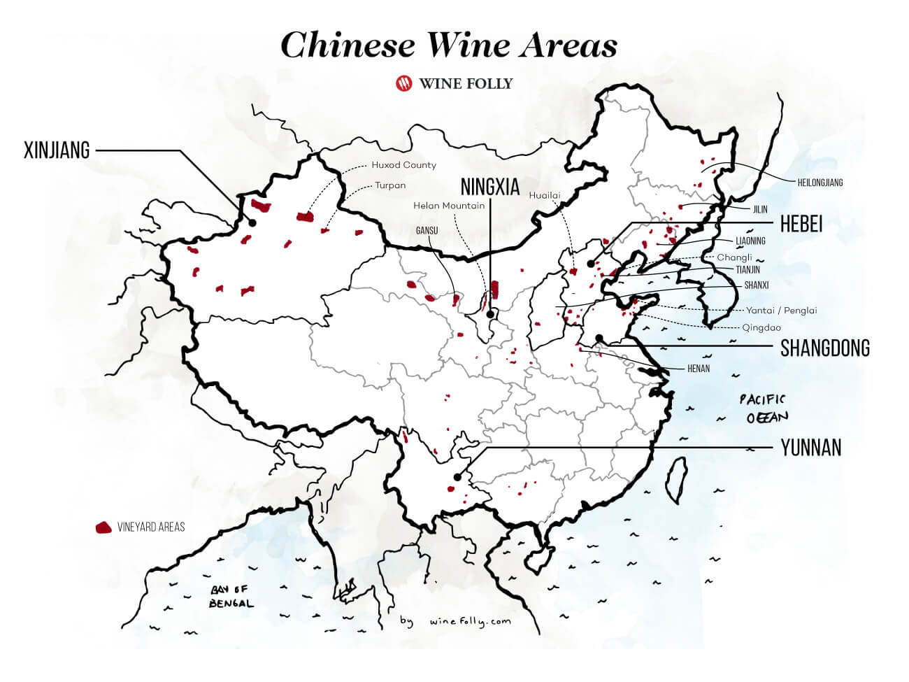 China Wine Region Map Detail - By Wine Folly 2020