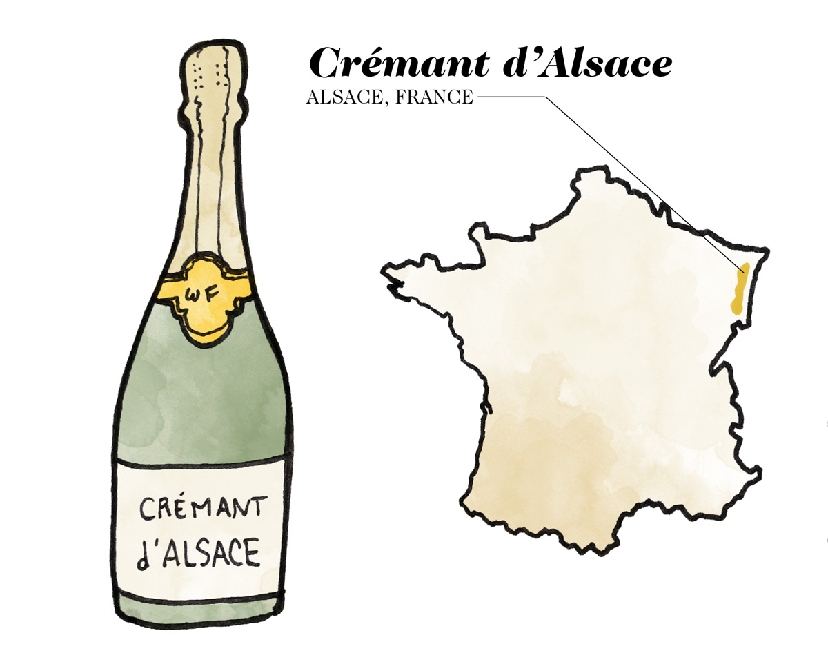Crémant d'Alsace Wine Illustration