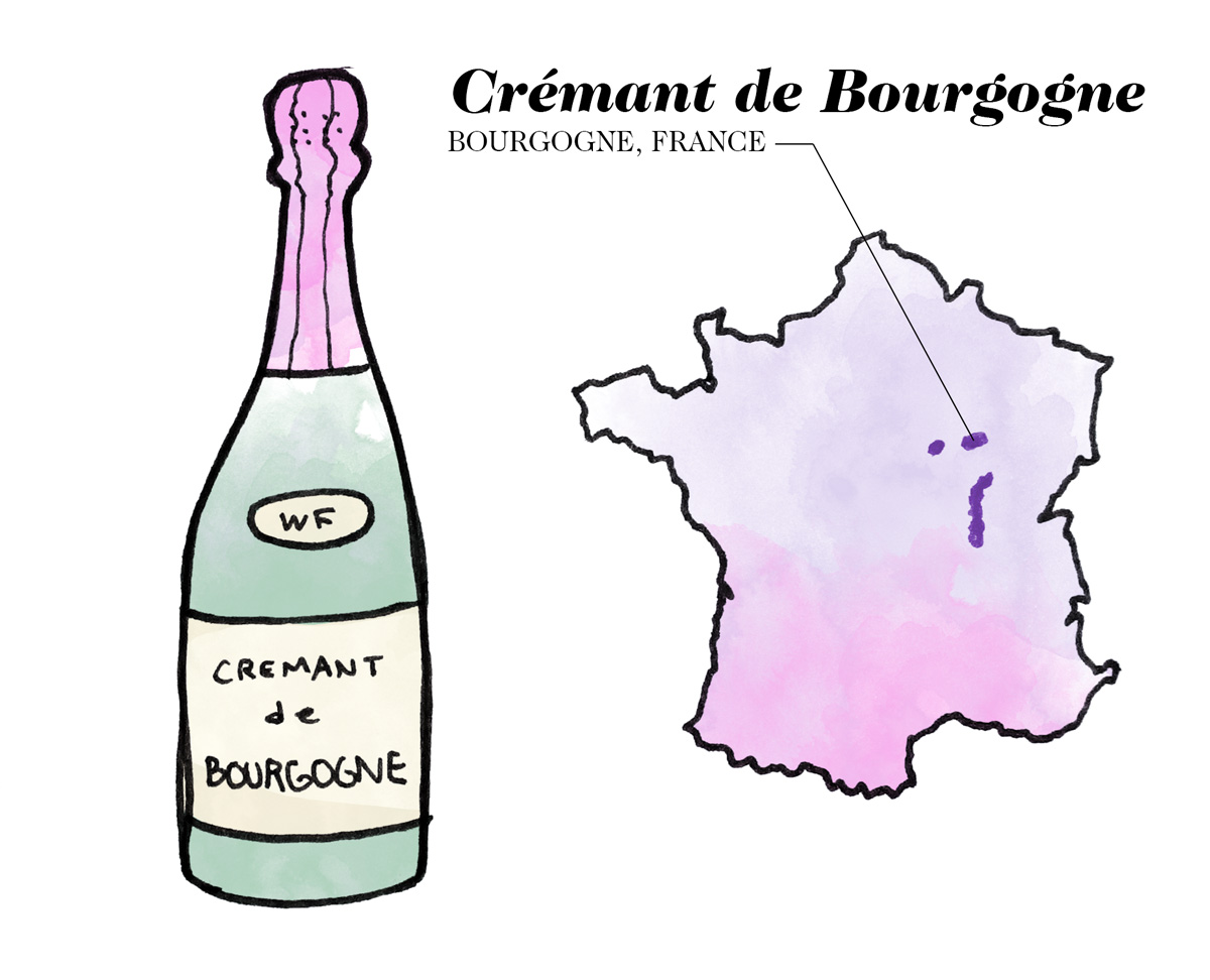 Crémant de Bourgogne wine illustration by Wine Folly