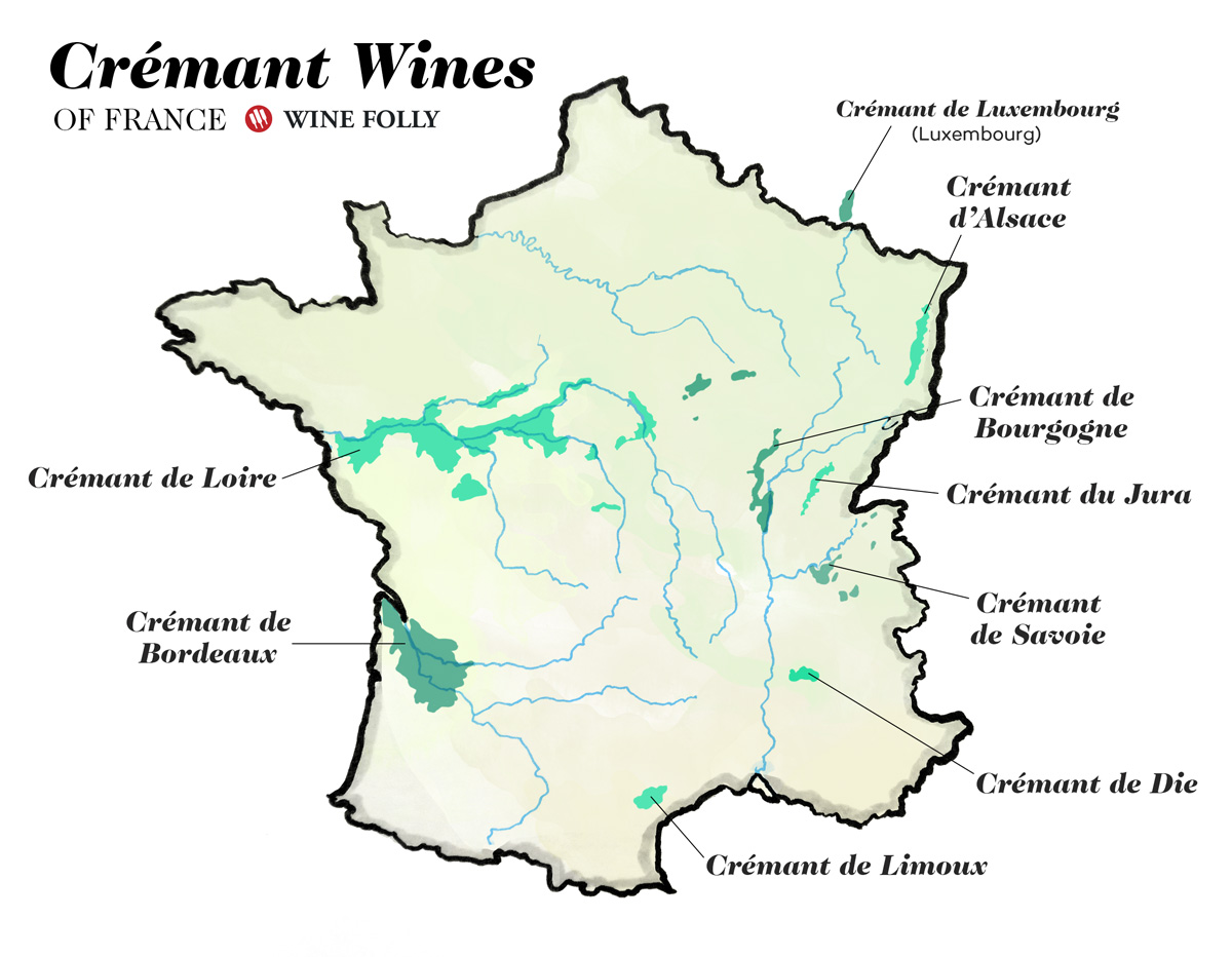 Map Of France And Luxembourg.All About Cremant Wine Wine Folly