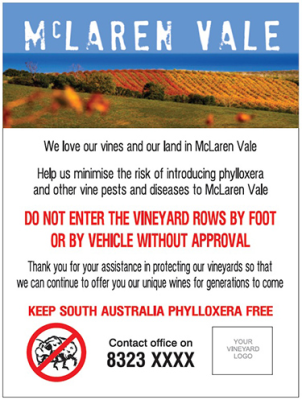 phylloxera free south Australia sign McLaren Vale
