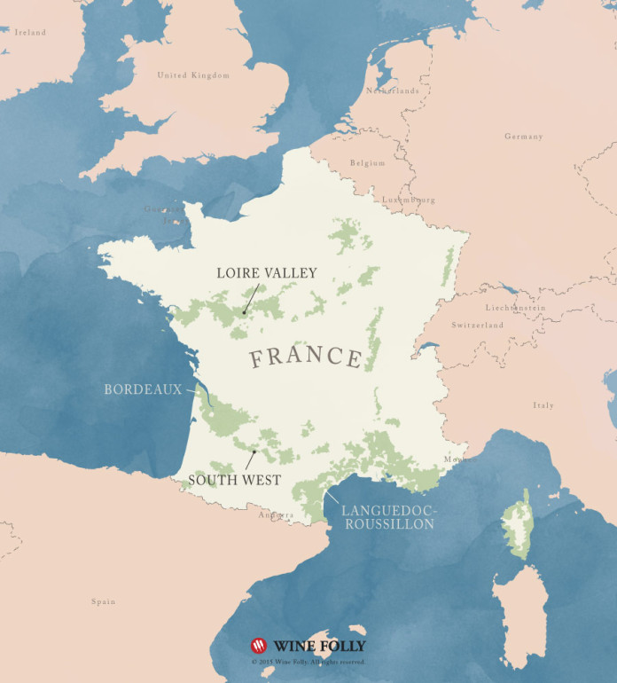 France Sauvignon Blanc Wine Regions Map by Wine Folly