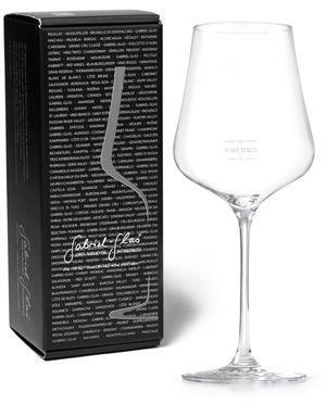 Photo of Gabriel Glas Austrian Crystal Glass with pour line etching by Wine Folly next to black box