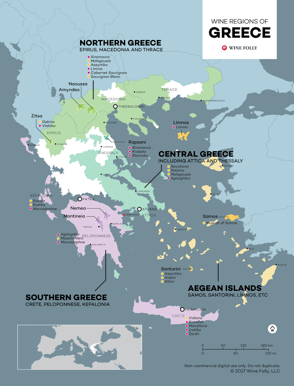 Wine Map of Greece by Wine Folly including wines