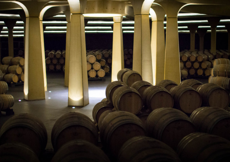 Barrel Room at Dinastia Vivanco cellaring Rioja wines