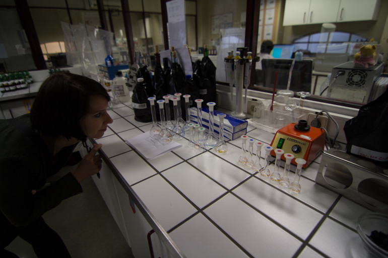 Madeline in the lab at the IVDP in Portugal