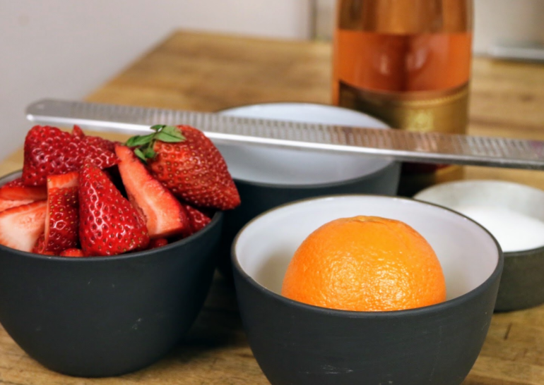 Ingredients and recipe for Chef Joe Ritchie's Orange Ricotta Bread Pudding with Strawberry Rosé Crémant Sauce