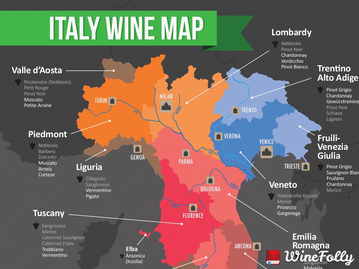 Map Showing Regions Of Italy.Map Of Italian Wine Regions Wine Folly