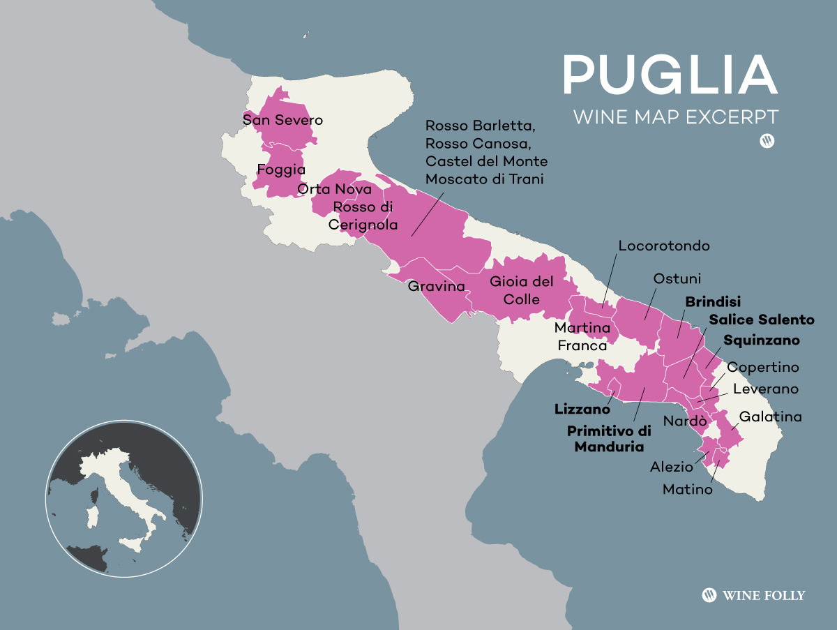 Italy's Puglia Wine Region, an abbreviated map excerpt by Wine Folly